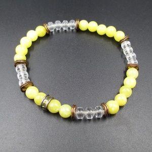 Jewelry - Vintage Beaded & Yellow Stone Expandable Bracelet